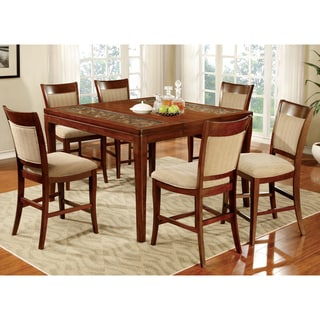 Furniture of America Darlene 7-Piece Dark Oak Counter Height Dining Set