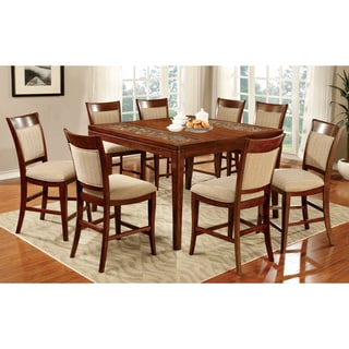 Furniture of America Darlene 9-Piece Dark Oak Counter Height Dining Set