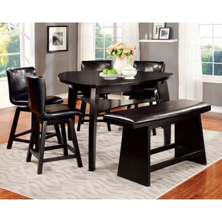 Furniture of America Hace Contemporary Black 6-piece Counter Dining Set