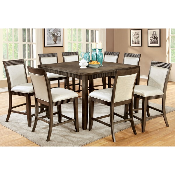 Furniture of America Dram Urban Grey Solid Wood 9-piece Dining Set