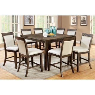 Furniture of America Mariselle 9-Piece Urban Grey Counter Height Dining Set