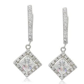Sterling Silver Princess-Cut Cubic Zirconia Dangle Earrings