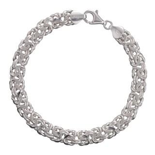 Sterling Silver 7.8mm Byzantine Bracelet