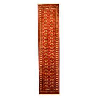 Herat Oriental Pakistan Hand-knotted Tribal Bokhara Red/ Ivory Wool Rug (2'8 x 12')