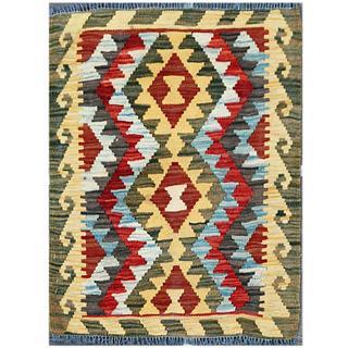 Herat Oriental Afghan Hand-woven Tribal Kilim Red/ Beige Wool Rug (1'11 x 2'5)