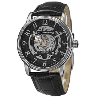 Stuhrling Original Men's Automatic Skeleton Leather Strap Watch