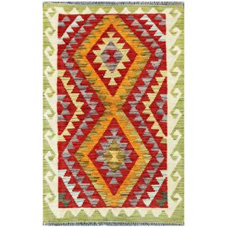 Handmade One-of-a-Kind Wool Kilim (Afghanistan) - 1'11 x 2'11