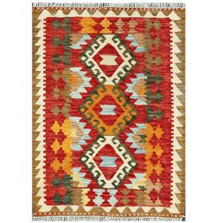 Handmade One-of-a-Kind Wool Kilim (Afghanistan) - 2'1 x 2'10