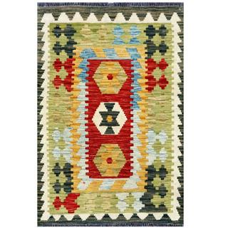 Herat Oriental Afghan Hand-woven Tribal Kilim Light Green/ Ivory Wool Rug (2'1 x 3'2)