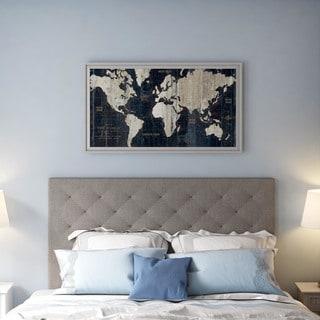 Wild Apple Portfolio 'Old World Map Blue' Framed Art Print 43 x 23-inch