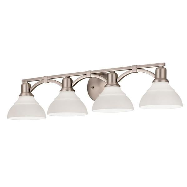 Shop kichler lighting transitional 4 light brushed nickel - Brushed bronze bathroom light fixtures ...