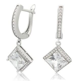 Sterling Silver 8mm Princess-Cut Cubic Zirconia Dangle Earring