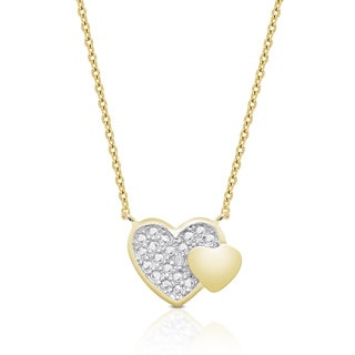 Finesque Gold over Sterling Silver Diamond Accent Heart Necklace