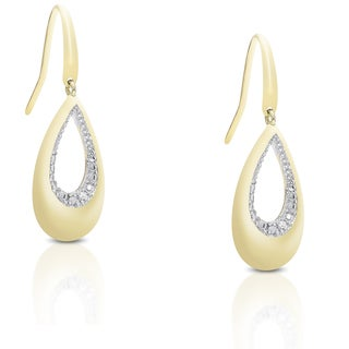 Finesque Gold over Sterling Silver Diamond Accent Dangle Teardrop Earrings