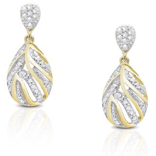 Finesque Gold over Sterling Silver Diamond Accent Dangle Earrings