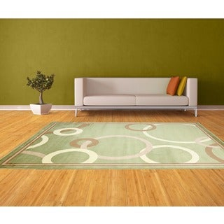 LYKE Home Audrey Green Area Rug (5' x 8')