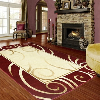 LYKE Home Audrey Red Area Rug (5' x 8')