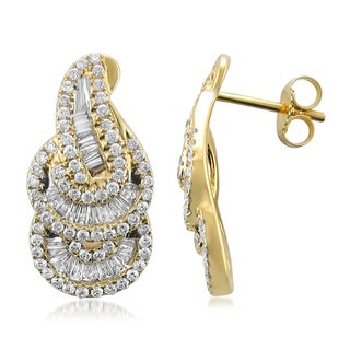 Montebello 14k Yellow Gold 1 1/5ct TDW Baguette and Round-cut Vintage Diamond Stud Earrings