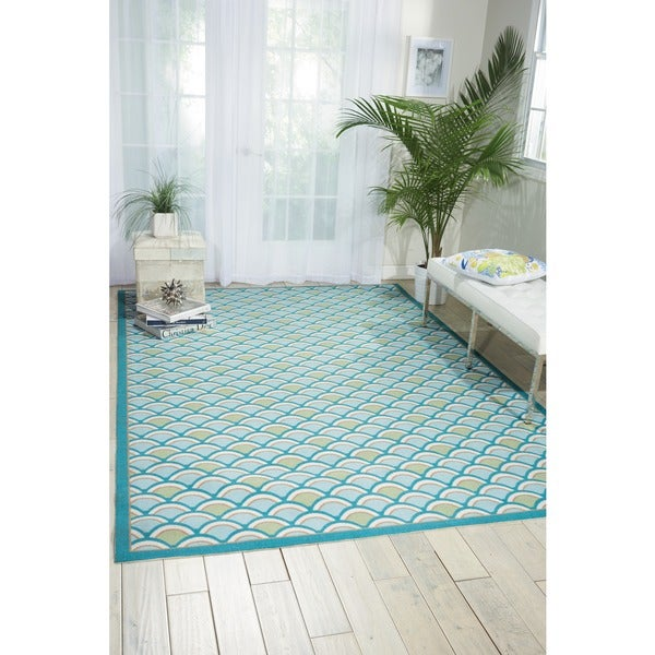 Nourison Home and Garden Light Blue Indoor/ Outdoor Area Rug - 6'6 x 9'9