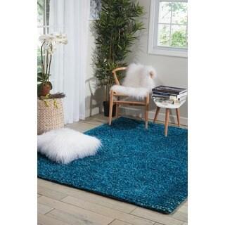 Hand Tufted Borders Turquoise Wool Rug 2 6 X 8 9