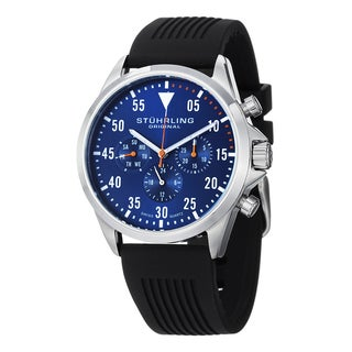 Stuhrling Original Men's Swiss Quartz Multifunction Aviator Rubber Strap Watch