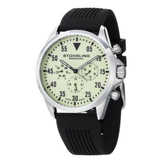 Stuhrling Original Men's Swiss Quartz Multifunction Aviator Rubber Strap Watch