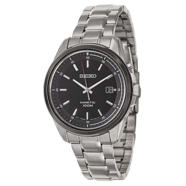 Shop seiko men 39 s ska679 stainless steel black dial kinetic watch free shipping today for Movado kinetic