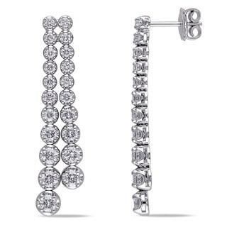 Miadora 18k White Gold 2 3/4ct TDW Diamond 2-row Earrings