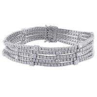 Miadora Signature Collection 18k White Gold 13 1/8ct TDW Diamond Bracelet