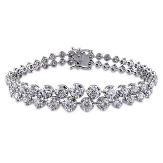 Miadora Signature Collection 18k White Gold 7 3/4ct TDW Diamond 2-row Bracelet (G-H, SI1-SI2)