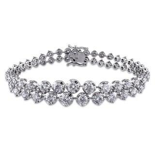 Miadora Signature Collection 18k White Gold 7 3/4ct TDW Diamond 2-row Bracelet