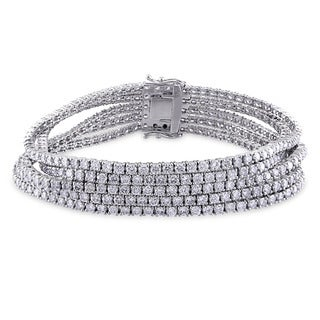 Miadora Signature Collection 18k White Gold 12 3/5ct TDW Diamond 5-row Bracelet (G-H, SI1-SI2)