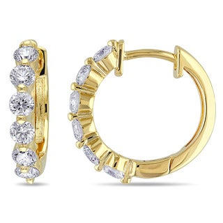 Miadora 14k Yellow Gold 1ct TDW Diamond Hoop Earrings