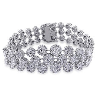 Miadora Signature Collection 18k White Gold 16 3/4ct TDW Diamond Bracelet (G-H, SI1-SI2)