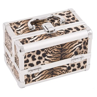 Justcase Brown Leopard 2-tier Extendable Tray Makeup Train Case