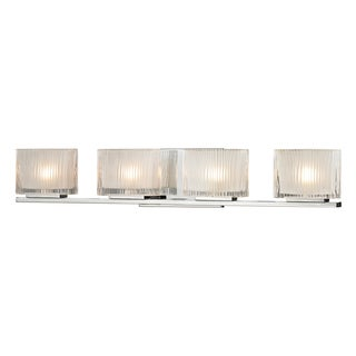 Polished Chrome Chiseled Glass Collection 4-Light bath