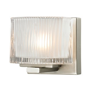 Brushed Nickel Chiseled Glass Collection 1-Light bath