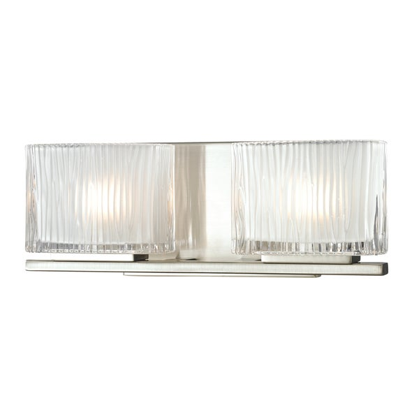 Shop Brushed Nickel Chiseled Glass Collection 2-Light bath ...