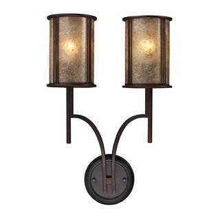 Aged Bronze and Tan Mica Shades Barringer Collection 2-Light Sconce