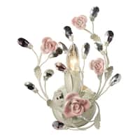 Cream and Porcelain Roses Heritage Collection 1-Light Sconce