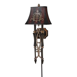 Dark Rust Double Torch Collection 2-Light Wall Sconce