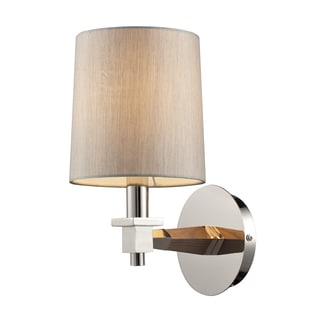 Jorgenson Collection Taupe Wood and Polished Nickel 1-Light Sconce