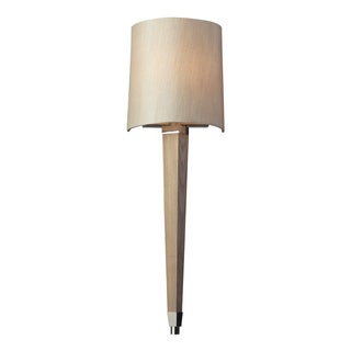 Taupe Wood and Polished Nickel Jorgenson Collection 1-Light Sconce