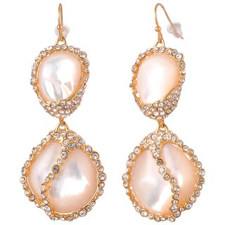 De Buman 18k Yellow Gold Plated Mother of Pearl and White Czech Earrings