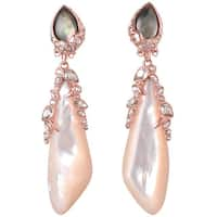 De Buman 18k Yellow Gold Plated or 18k Rose Gold Plated Mother of Pearl and Grey Shell Earrings