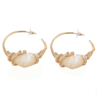 De Buman 18k Yellow Gold Plated Mother of Pearl and White Czech Hoop Earrings