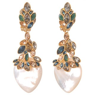 De Buman 18k Yellow Gold Plated or 18k Rose Gold Plated Mother of Pearl and Czech Earrings