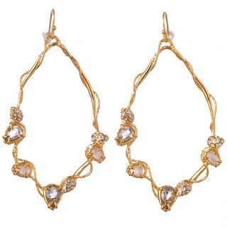 De Buman 18k Yellow Gold Plated or 18k Rose Gold Plated Mother of Pearl and Crystal Earrings (4 options available)