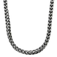 Stainless Steel Black Plating Accent Franco Chain Necklace
