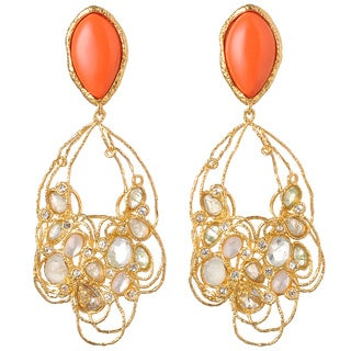 De Buman 18k Yellow Gold Plated Created Red Coral and Multi-colored Crystal Earrings